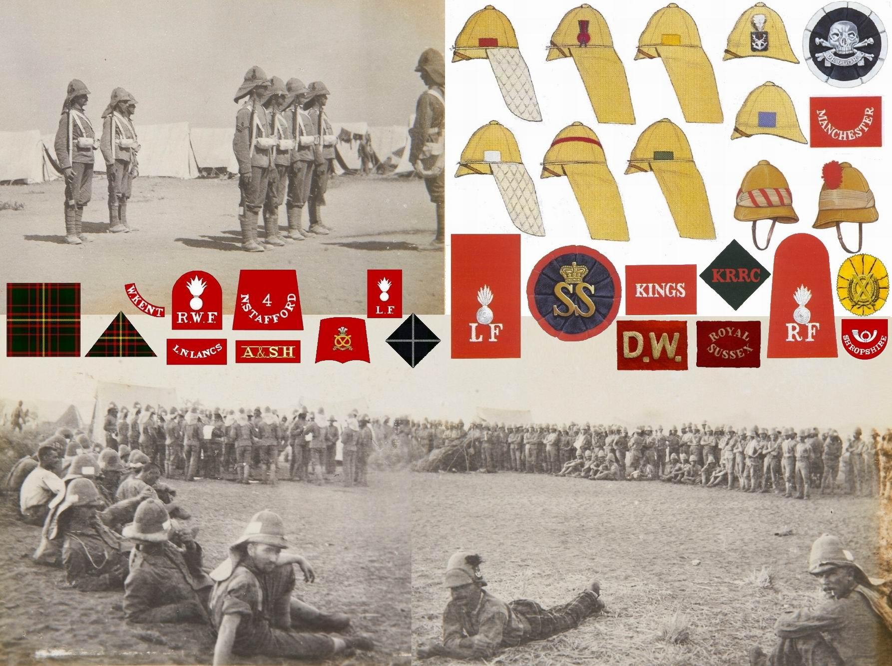 Примеры знаков отличия на пробковых шлемах времен подавления махдистов и англо-бурской войны.