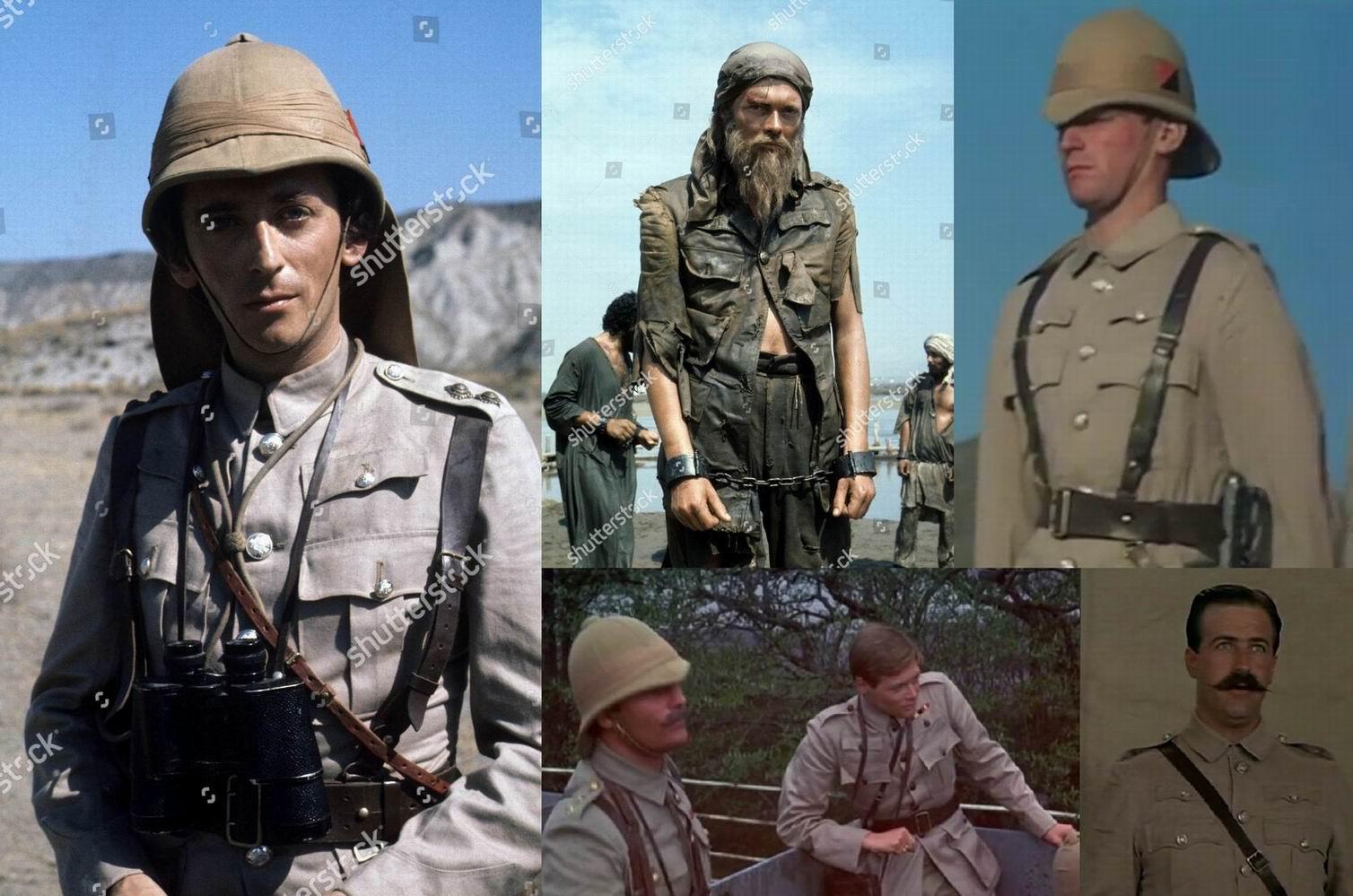 """Внизу по центру и слева - кадры из фильмов """"Молодой Уинстон"""" (1972) и «Объездчик Морант» (1980) про Бурскую войну. Саймон Уорд играл и молодого Черчилля в 1972г., и Тренча в 1978г. - оба раза с шестью карманами."""