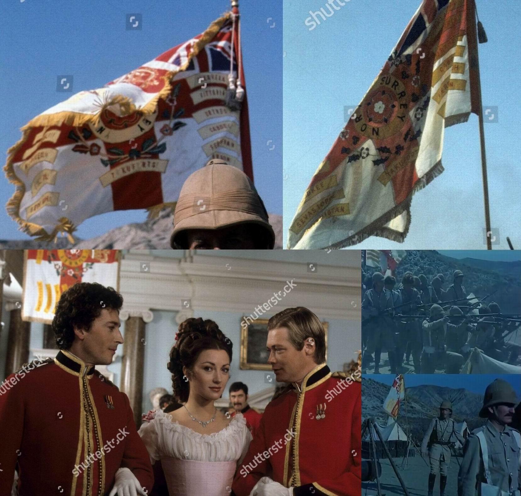 """Под надписью """"Северный Суррей"""" видны другие буквы - """"Йоркшир""""? Полковая святыня, по логике фильма, должна попасть в руки врага после показанной стычки, хотя к тому времени вынос знамен в боевые порядки был уже запрещен. Это же знамя же висело на стене в сцене бала в честь помолвки Гарри и Этни."""