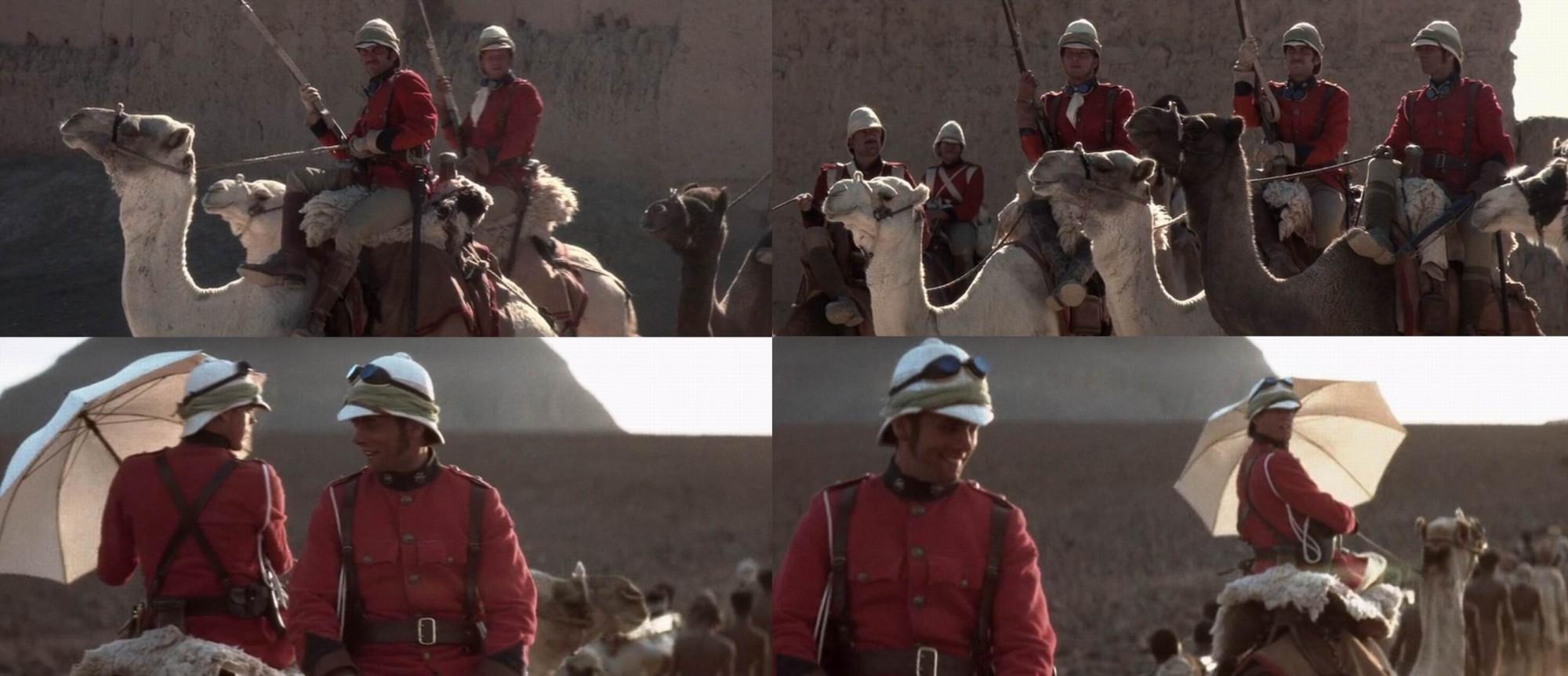 Создатели фильма явно читали и про тысячу белых зонтиков, затребованных Уолсли для защиты Верблюжьего корпуса от жары...