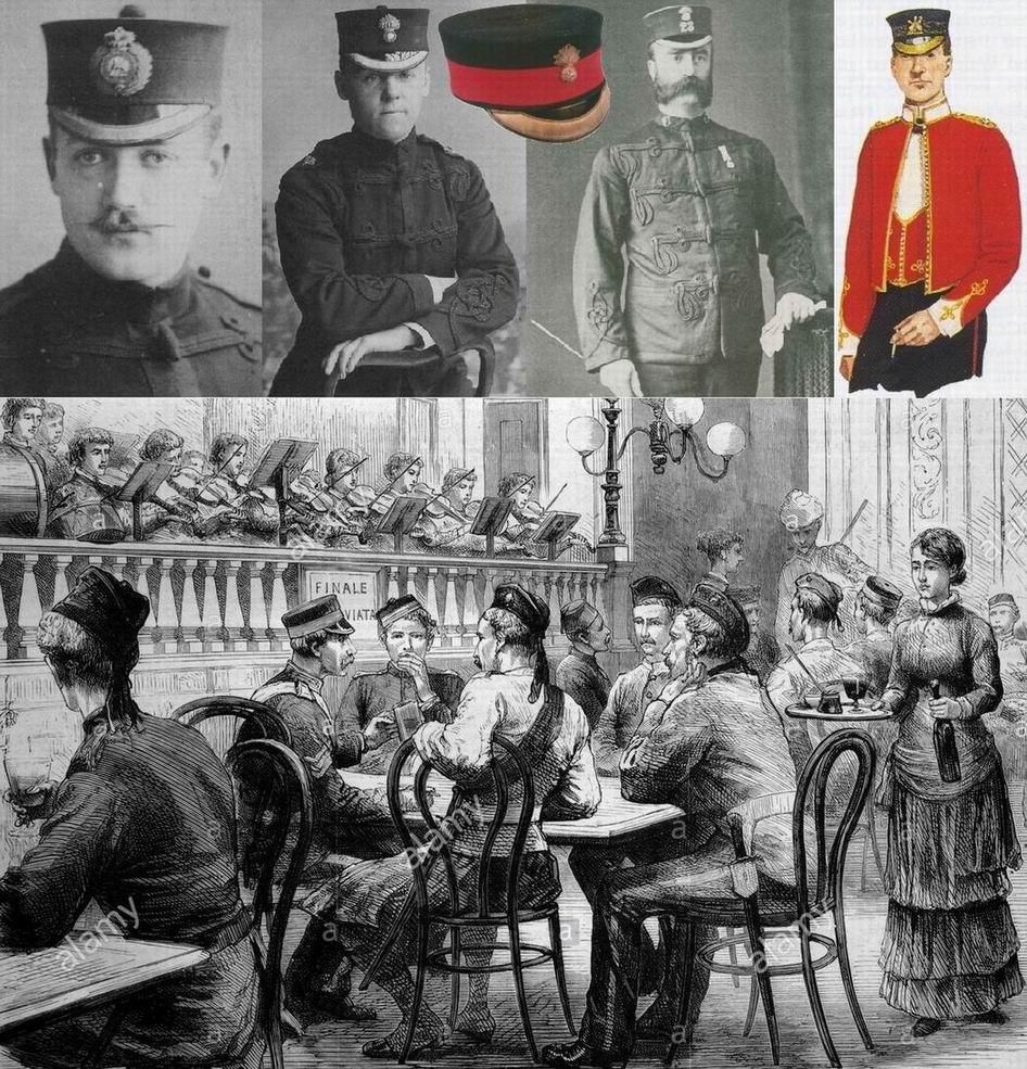 """Весьма атмосферный рисунок - """"В ресторане после Египетской кампании"""", 1883г. Видны типичные головные уборы той эпохи - правильная фуражка, """"коробочки для пилюль"""" у кавалеристов, пилотки-гленгарри, носившиеся тогда не только шотландцами."""