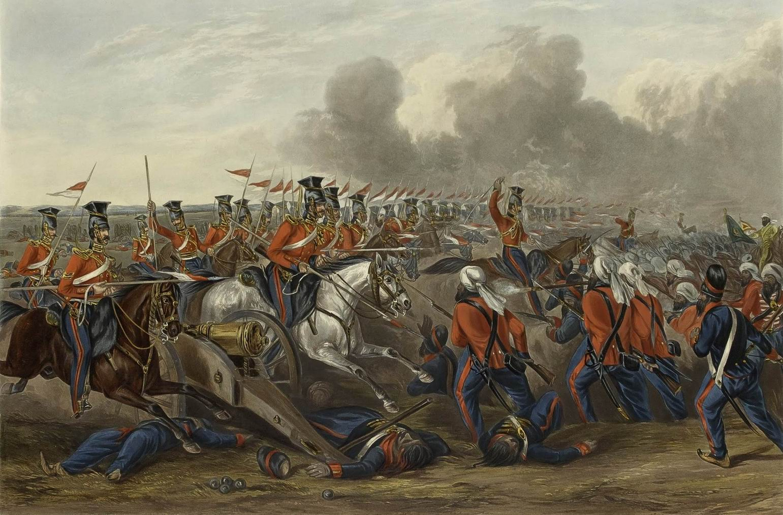 """""""Атака 16го (Собственного Королевы) уланского полка в битве при Аливале 28 января 1846г."""", 1847г."""