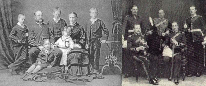 Элкингтоны, конец 1870х гг. Пять братьев-офицеров.