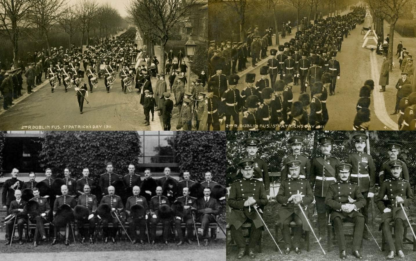 Королевские Дублинские фузилеры. Подполковник Мейнуоринг сидит в центре на фотографии внизу слева.