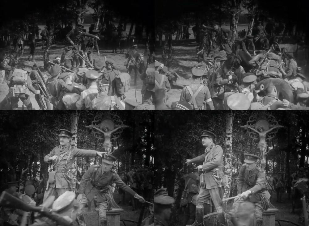 """""""Третья дивизия - направо! Пятая дивизия - налево! Кавалерия прямо!"""" Кадры из фильма """"Монс"""" (1926)."""