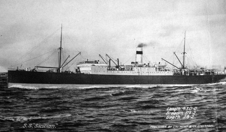 """""""Сити оф Сицилиан"""" не нашел. Возможно речь идет о просто """"Сицилиане"""" (1899-1925), использовавшимся как войсковой транспорт в годы англо-бурской войны."""