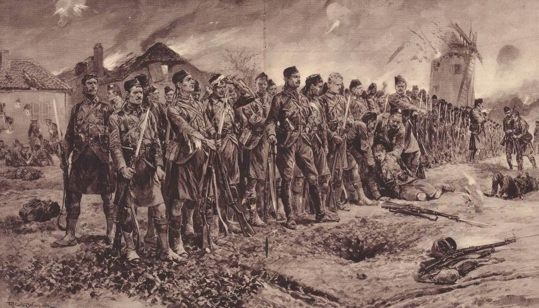 1\14й (города Лондон) батальон Лондонского полка (Лондонские шотландцы) перед 3й атакой у Мессина 31 октября 1914г. Худ. Р.К. Вудвиль.