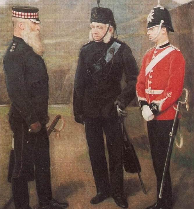 Офицеры дореформенной эпохи: 5й Волонтерский батальон Королевских Шотландцев (слева и справа), Королевы Эдинбургские стрелки волонтеры (в центре).