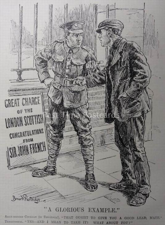 С началом войны установка сменилась. Бравый солдат поучает незаписавшегося гражданского на примере атаки Лондонских шотландцев — первой территориальной части вступившей в бой.