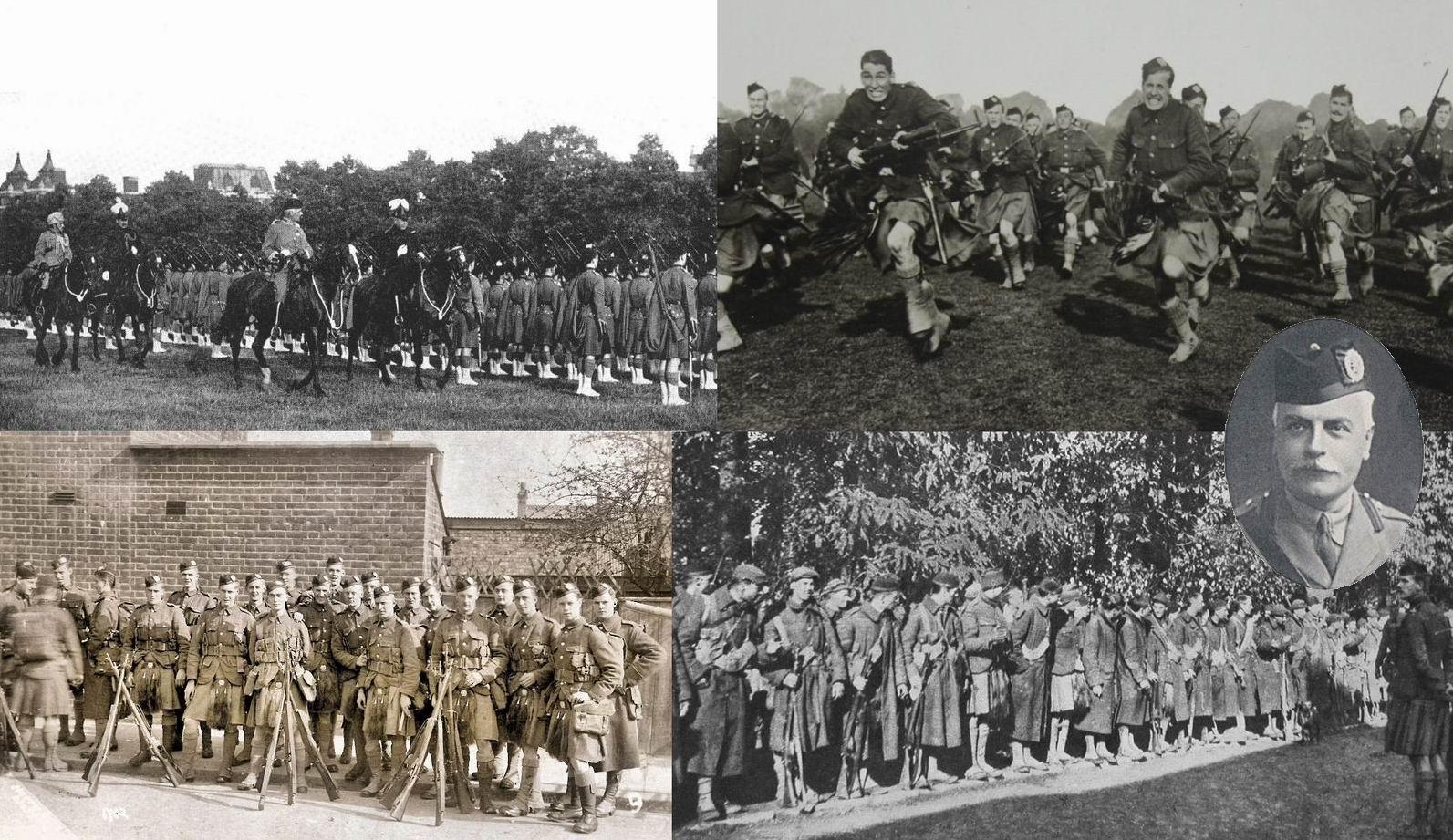 Лондонские шотландцы прославились героической штыковой контратакой  в ночь Хэллоуина 31 октября 1914г. Вверху слева — парад в Гайд-Парке, июнь 1913г. Вверху справа — позируют для фотооткрытки. Внизу слева — в Англии, 1914г. Внизу справа — построение на утро после знаменитого боя, в строю осталось меньше половины. Подполковник Малкольм — портрет внизу справа и офицер верхом на переднем плане в светлой форме (вверху слева).