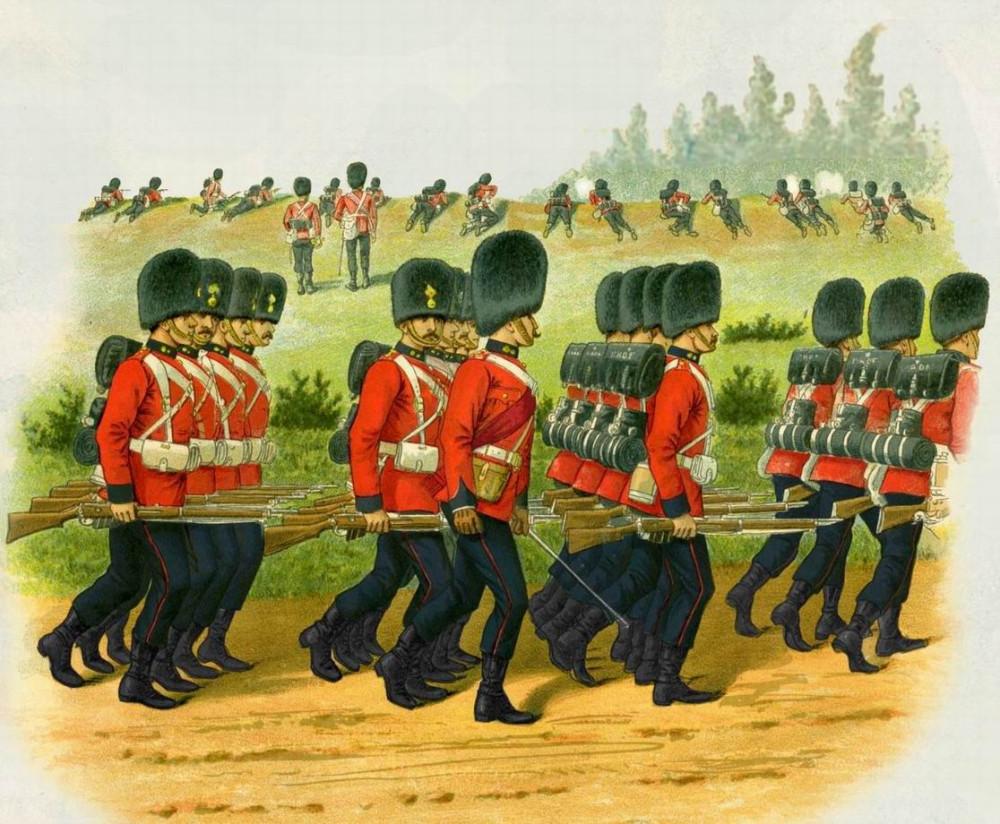 Королевские Дублинские фузилеры, 1896г. Видна разница в размерах офицерских и солдатских шапок.