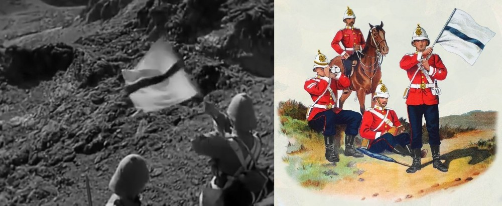 Показана работа флажного семафора. Слева — кадр из фильма. Справа — Пограничники Южного Уэльса, 1893г.