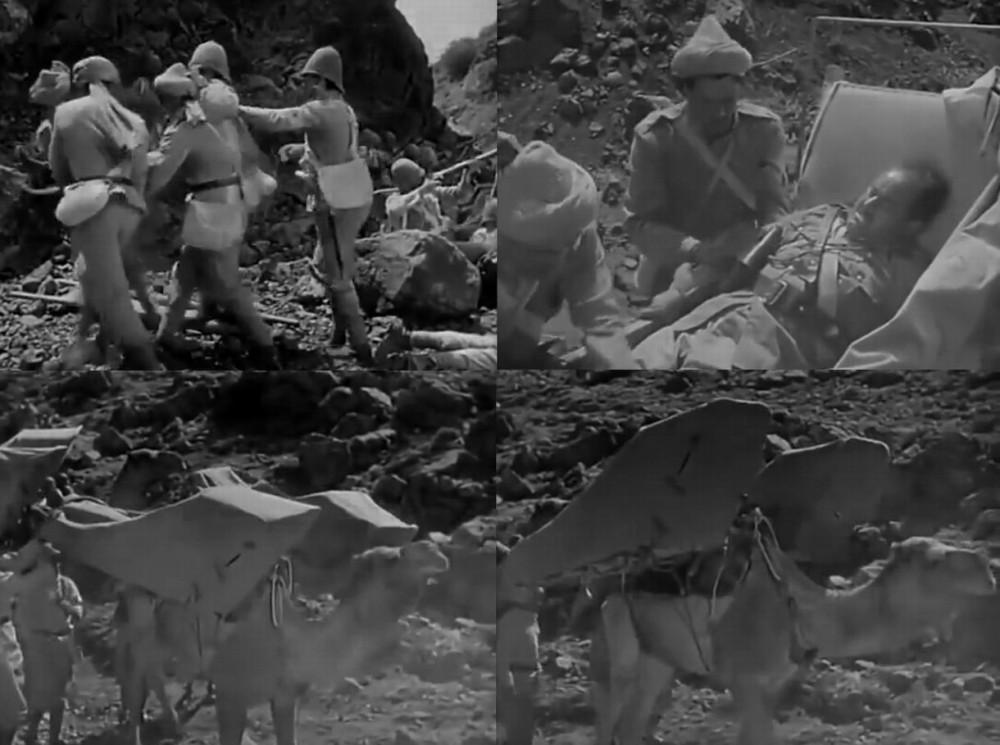 Санитары-индусы и эвакуация раненых на верблюде.
