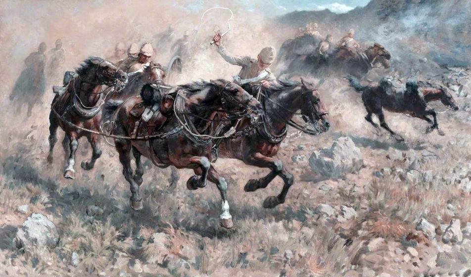 Спасение орудий, Майванд, 1880г. Солдаты одеты в хаки, но хорошо передан пылевой шлейф и стремительность скачки.