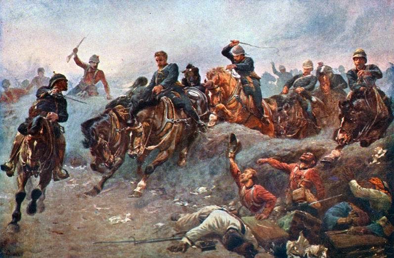 Артиллерия выезжает на позиции под Тель-эль-Кебиром. Египет, 1882г. Картина дает представление как конно-артиллеристы преодолевали препятствия.
