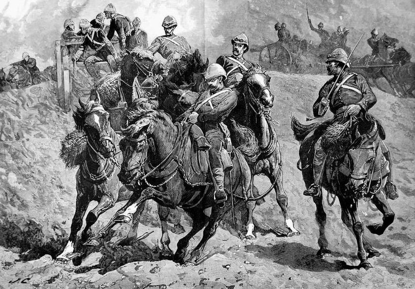 """""""Стой!""""-Артиллерия в битве при Тель-эль-Кебире, Египет, 1882г. Картина дает представление как конно-артиллеристы преодолевали препятствия, ну а небольшую стенку могли и правда снести."""