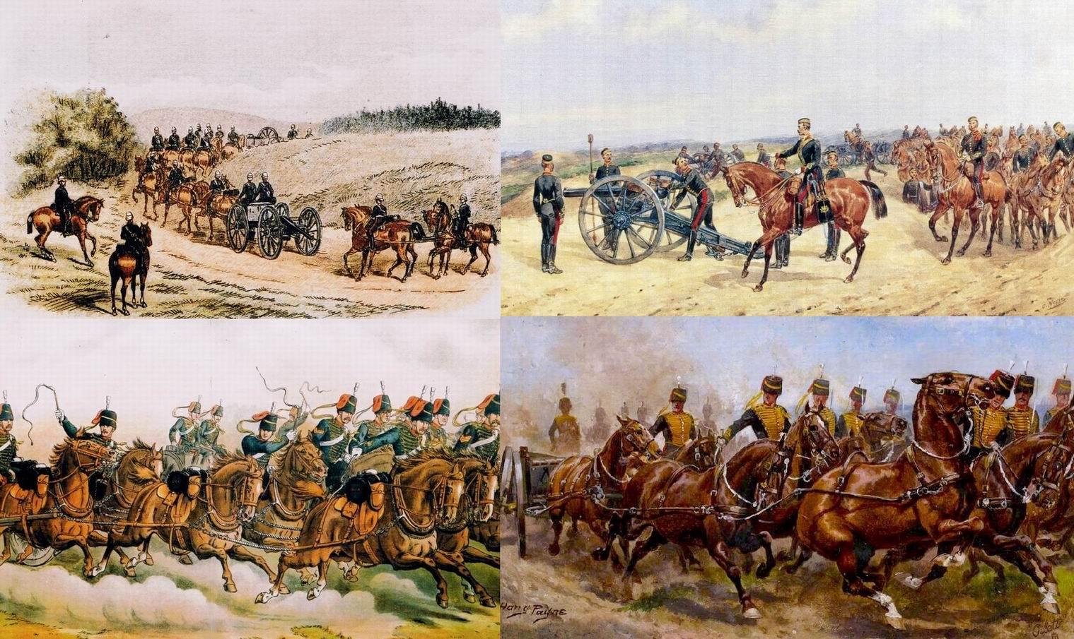 """Слева вверху — ККА на марше в Индии, 1888г. Справа вверху — на маневрах в Англии. Но больше всего художники любили изображать неудержимую скачку орудий """"проходящих везде, как кавалерия"""" (внизу)."""