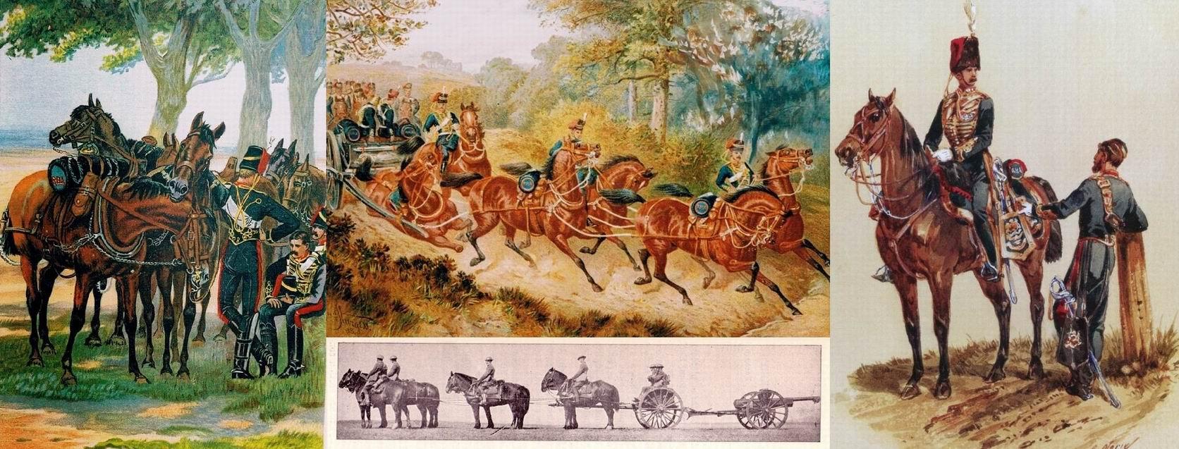 """Слева — на  ноге ездового видна защита от """"подручной"""" (т.е. правой) лошади. Сверху в центре — Инцидент, 1893г."""