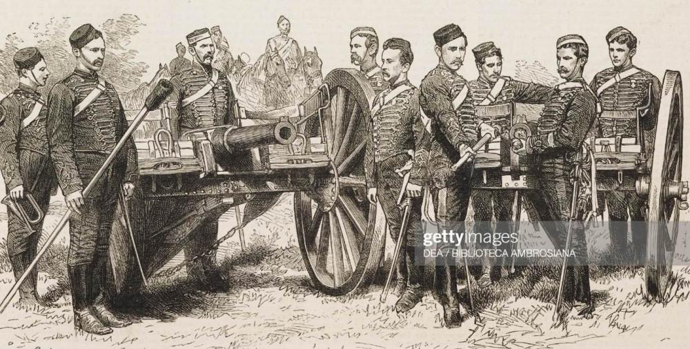 Нижние чины Батареи Е Бригады Б ККА, отличившиеся во 2ю англо-афганскую войну, 1882г. Хорошо видны ящики над осями и сиденья.