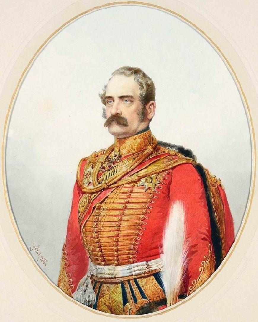 Худ. М.А. Зичи. Генерал-майор А.Б.Будберг. Здесь — командир Лейб-Гвардии Гусарского полка (1848-1855).