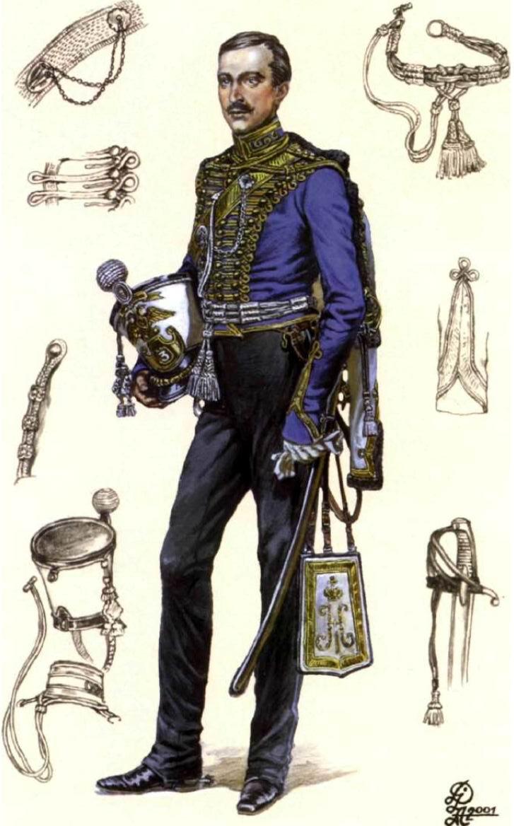 Худ. И. Дзысь. Поручик Гусарского ЕИВВК Ольги Николаевны полка в парадной форме, 1845-1855гг.