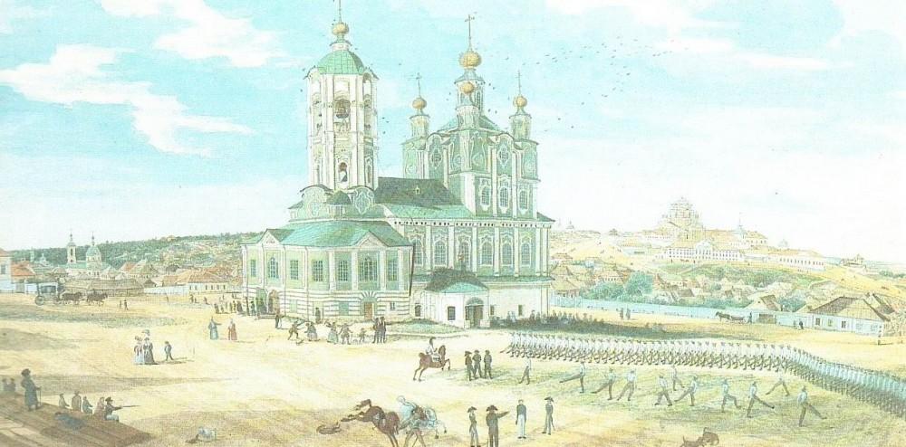 Неизвестный художник. Обучение солдат в провинциальном городе. Начало XIX века. Хорошо видно пешее учение кирасирского полка.