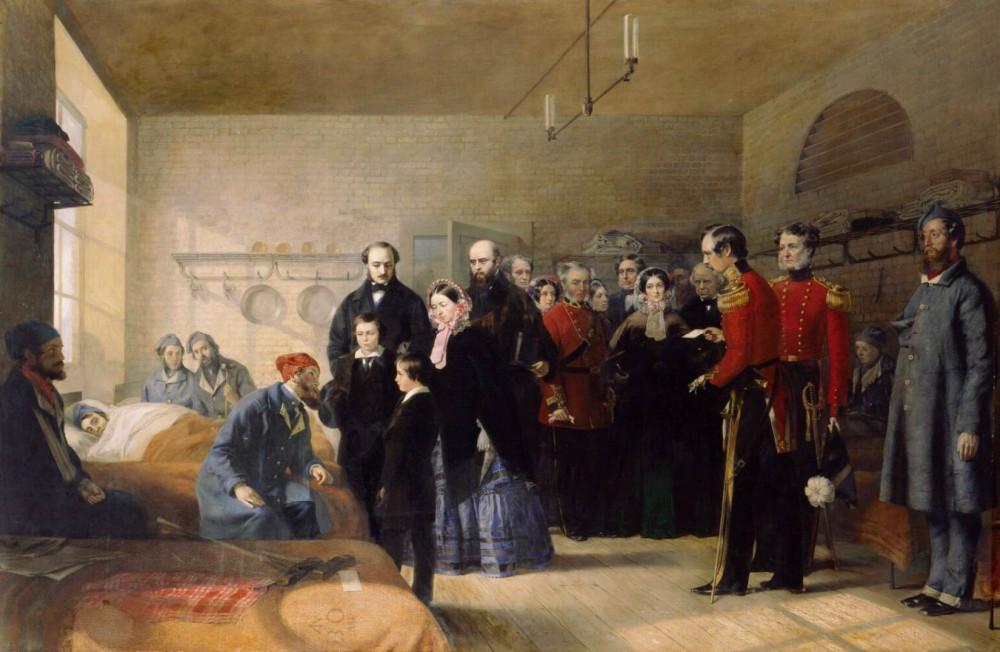 Первый визит королевы Виктории к своим раненым солдатам, 1856г.
