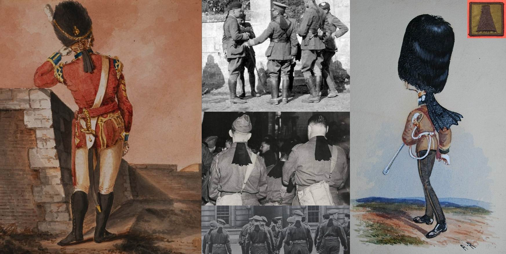 Начало XIX века, 1914, 1940, 1948гг. Современная нашивка в память этой традиции.