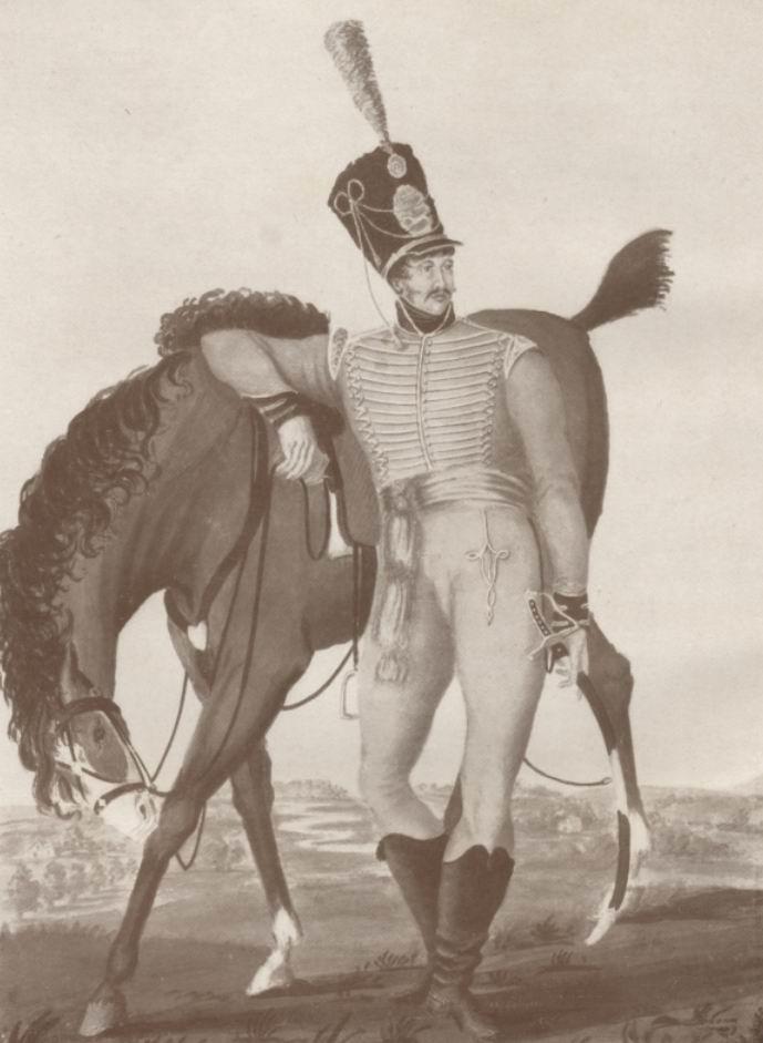 Офицер Суррейской йоменской кавалерии с тонкими висячими усиками по «континентальной» моде, примерно 1819-20гг.