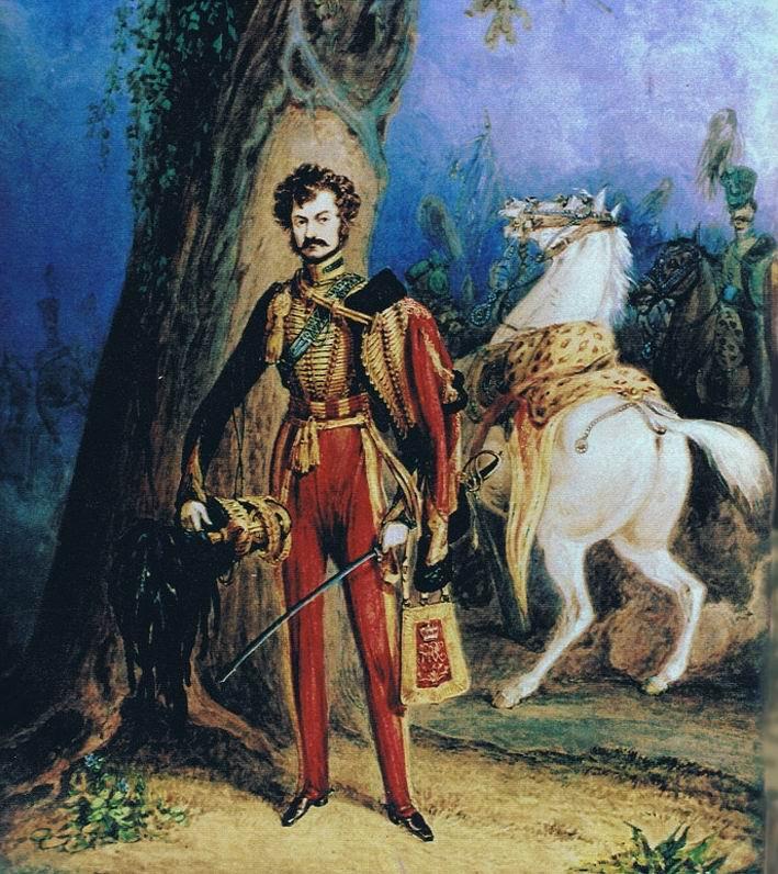 Офицер 10го гусарского полка, 1830г. Красный ментик — отражение любви короля Вильгельма к этому цвету.