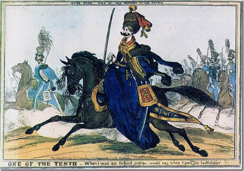Леди Лондондерри. Карикатура на жену командира 10го гусарского полка, 1829г.