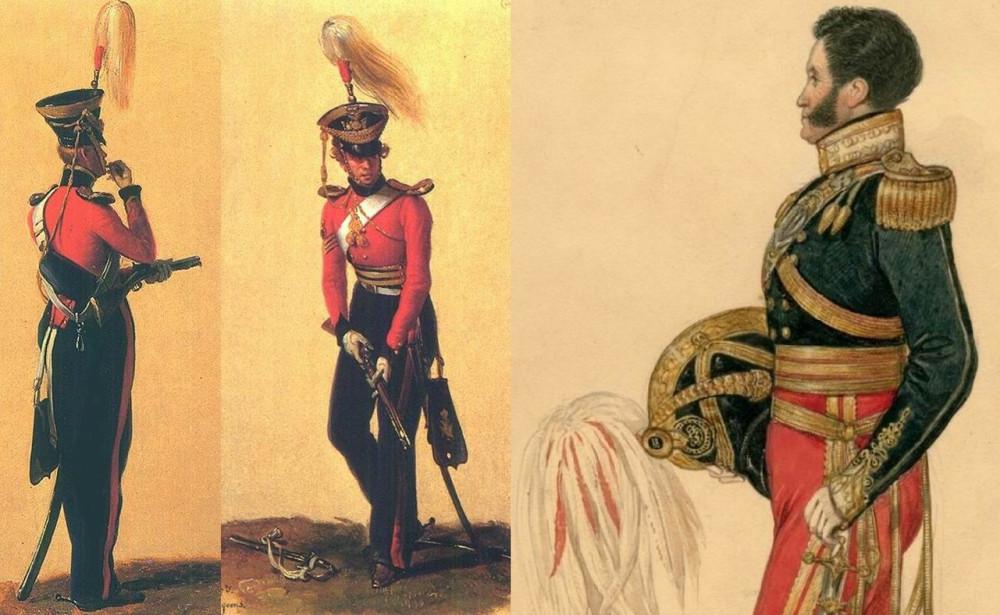 Сержант и рядовой 14го драгунского полка работы Дюбуа-Драгоне, 1832г. — без усов. Офицер 13го драгунского, около 1830г. Большие бакенбарды, но усы уже сбриты.
