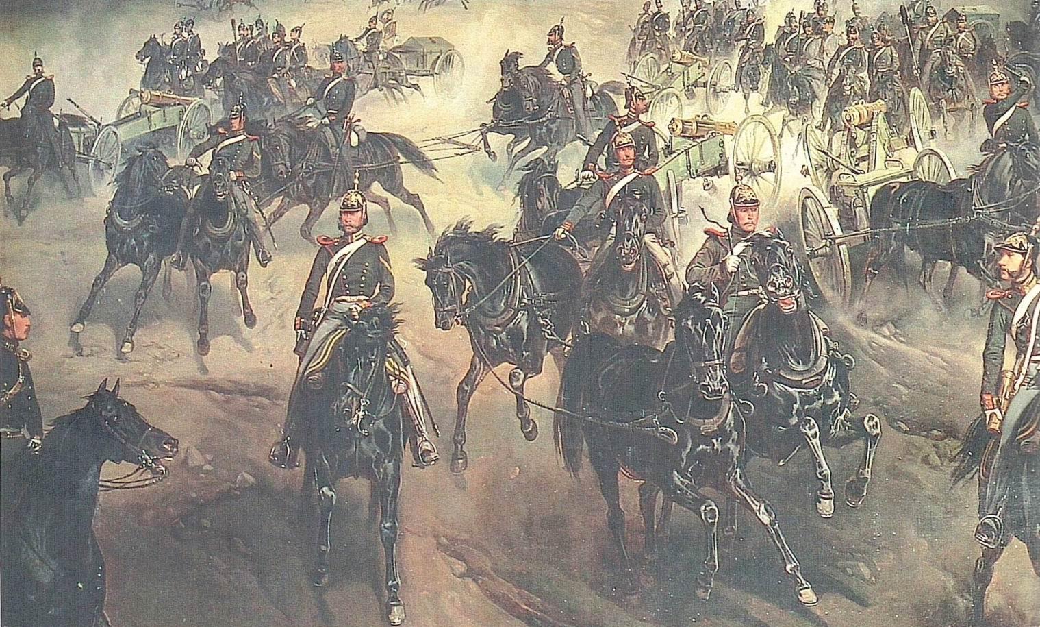 """Фрагмент картины Г.Виллевальде """"Маневры Лейб-Гвардии Конной артиллерии"""", 1852г. Крайний слева — прапорщик Змиев."""