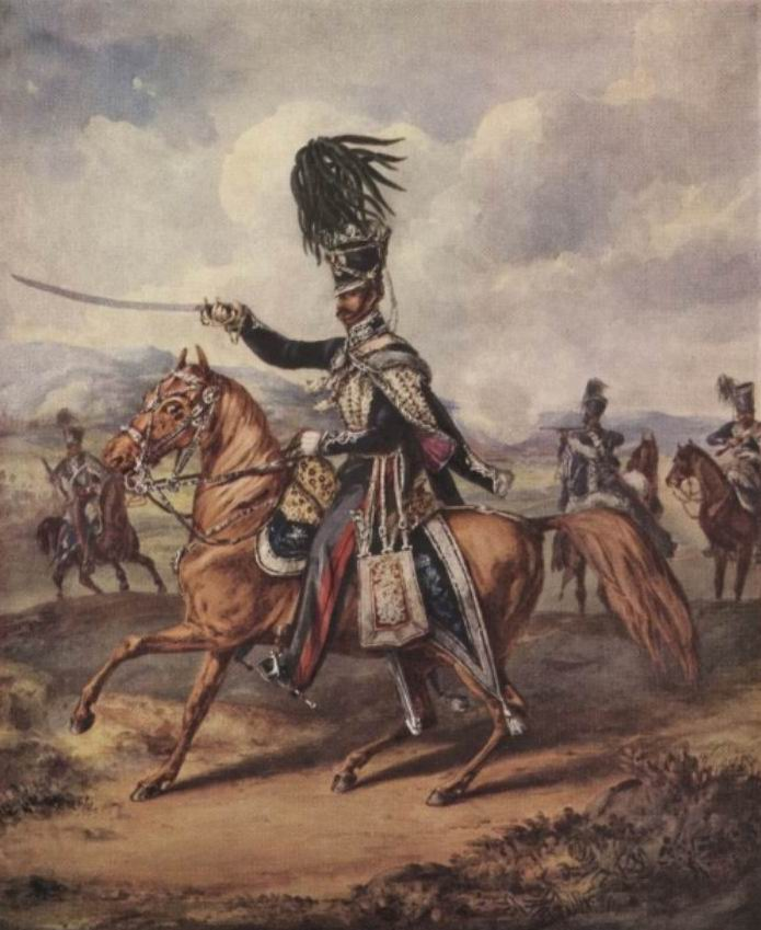 Офицер 8го Короля Королевского Ирландского гусарского полка, 1823г. Будем для краткости называть его так, хотя официально он, как и ряд других полков по причудливости британских обычаев считался легкодрагунским, с уточнением в скобках – гусарский.