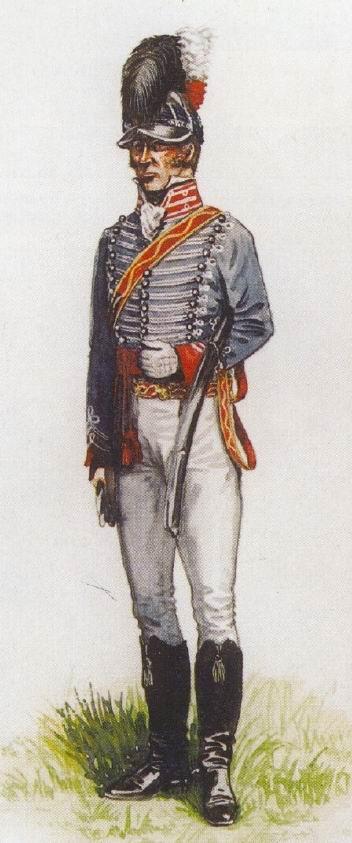 """Офицер 8го легкодрагунского полка, Индия, 1803г. В Индии было нормой носить мундиры """"французского серого"""" цвета, а не темно-синие — для удобства и экономии."""