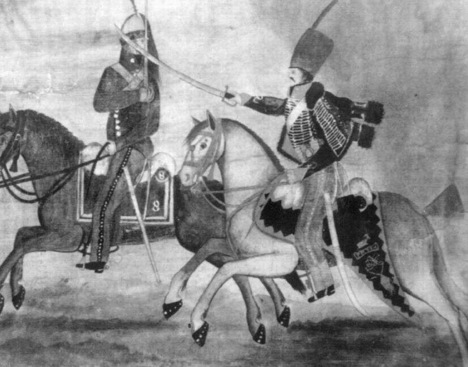 Схватка между гусаром 15го и французским драгуном из 8го полка при Саагуне 1808г., 1811г.