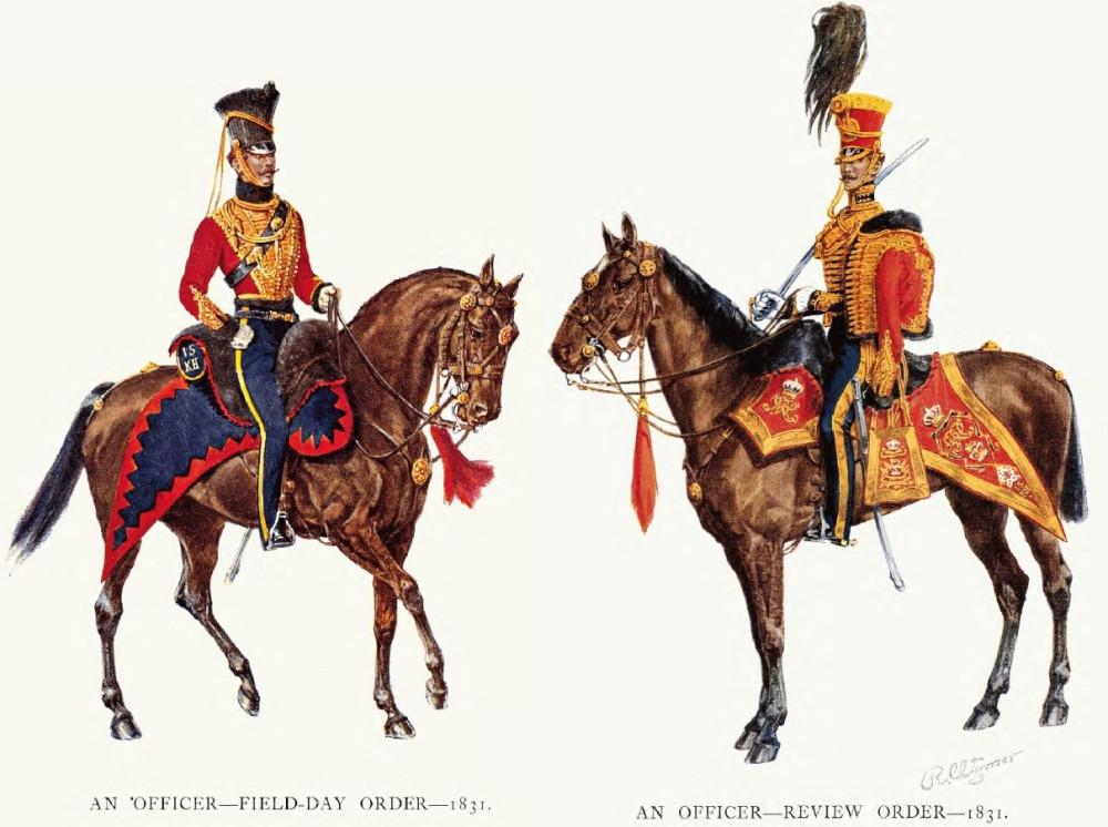 15й гусарский полк, 1831г. Уже в алых ментиках.