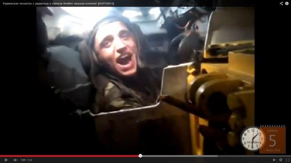 Украинский танкист расстреливает детей и стариков