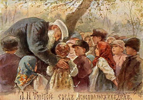 08 Е.М. Бём. Л.Н. Толстой среди яснополянских детей. 1909 г. Акварель.
