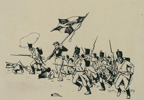 14 А.В. Николаев. Война и мир. Атака. Князь Андрей со знаменем. Бумага, гуашь