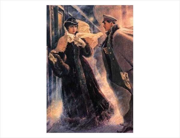19 А.Н. Самохвалов. Встреча Анны с Вронским на станции Бологое. 1952-1953 гг