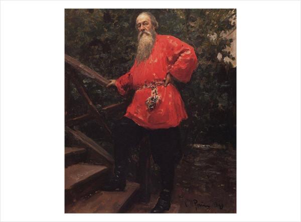28 И.Е. Репин. В.В. Стасов на даче в деревне Старожиловка близ Парголова. 1889 г