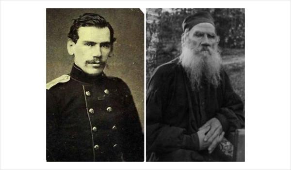 39 Толстой 1856г Петербург С.Л. Левицкий Толстой 1896г Ясная Поляна П.И. Бирюков (справа)