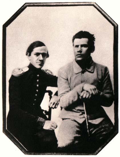 51 Л.Н. Толстой и Н.Н. Толстой, 1851, Москва, фотография с дагерротипа К.П. Мазера