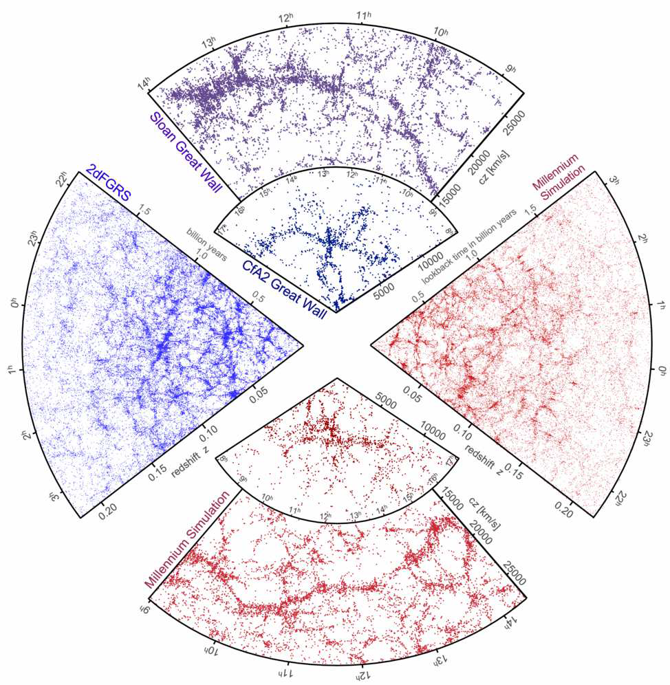 The galaxy distribution obtained from spectroscopic redshift surveys and from mock catalogues constructed from cosmological simulations