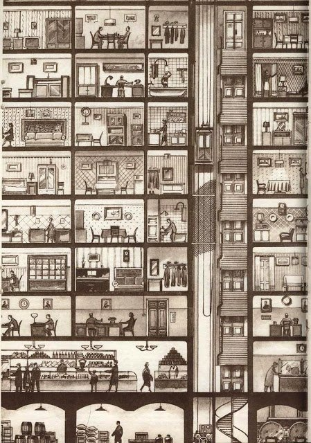 "Illustration from ""Comfortable Housing"" in Tekhnika Molodezhy magazine, 1948"
