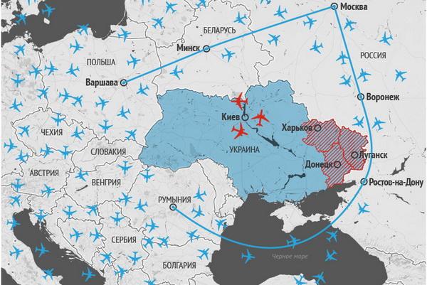 Карта движения самолетов воздушном пространстве