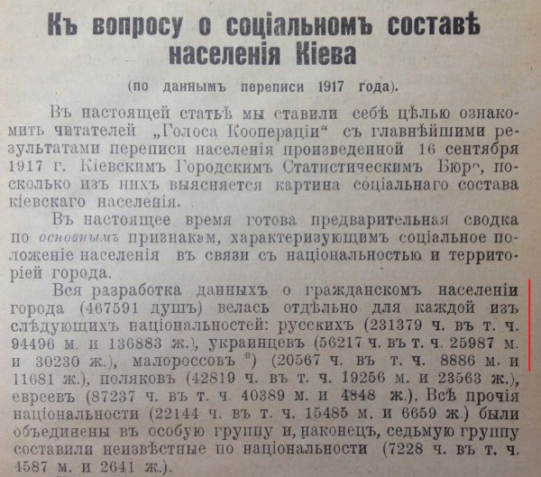 Малороссы и украинцы в переписи населения Киева - 1917 и 1919 год