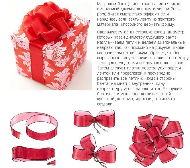 Бантики на подарки из ленточек своими руками