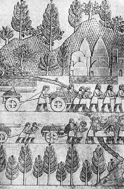Перевозка канатов и балок. Ассирийский рельеф из дворца Синахериба.